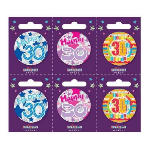 Age 30 Small Badges (6 assorted per perforated card) (5.5cm)